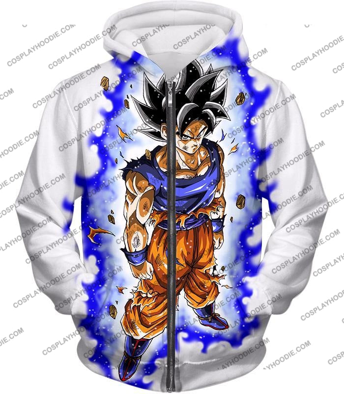 Dragon Ball Super Latest Form Goku Ultra Instinct Cool Action White T-Shirt Dbs208 Zip Up Hoodie /