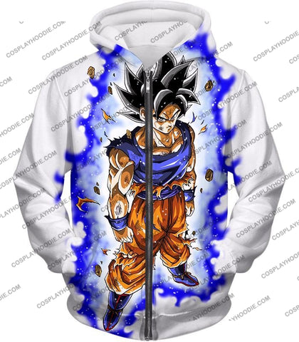Image of Dragon Ball Super Latest Form Goku Ultra Instinct Cool Action White T-Shirt Dbs208 Zip Up Hoodie /