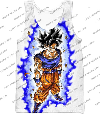 Image of Dragon Ball Super Latest Form Goku Ultra Instinct Cool Action White T-Shirt Dbs208 Tank Top / Us Xxs