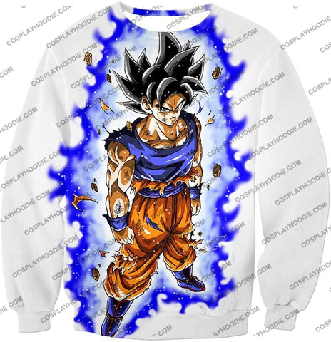 Image of Dragon Ball Super Latest Form Goku Ultra Instinct Cool Action White T-Shirt Dbs208 Sweatshirt / Us