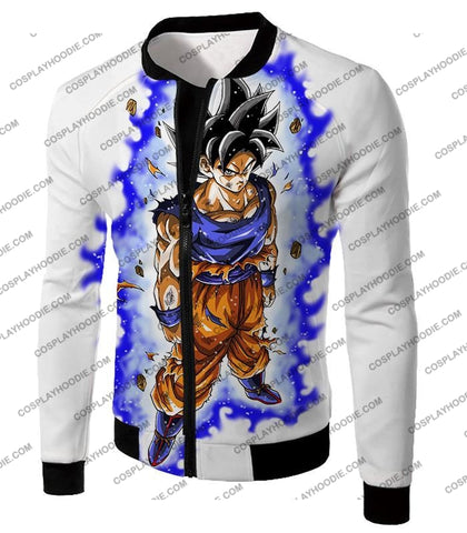 Image of Dragon Ball Super Latest Form Goku Ultra Instinct Cool Action White T-Shirt Dbs208 Jacket / Us Xxs