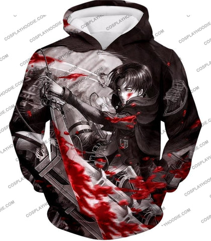 Attack On Titan Captain Levi Black And White Themed T-Shirt Aot021 Hoodie / Us Xxs (Asian Xs)