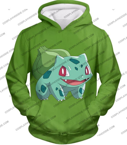 Image of Pokemon Cutest Grass Bulbasaur Green Anime T-Shirt Pkm171 Hoodie / Us Xxs (Asian Xs)