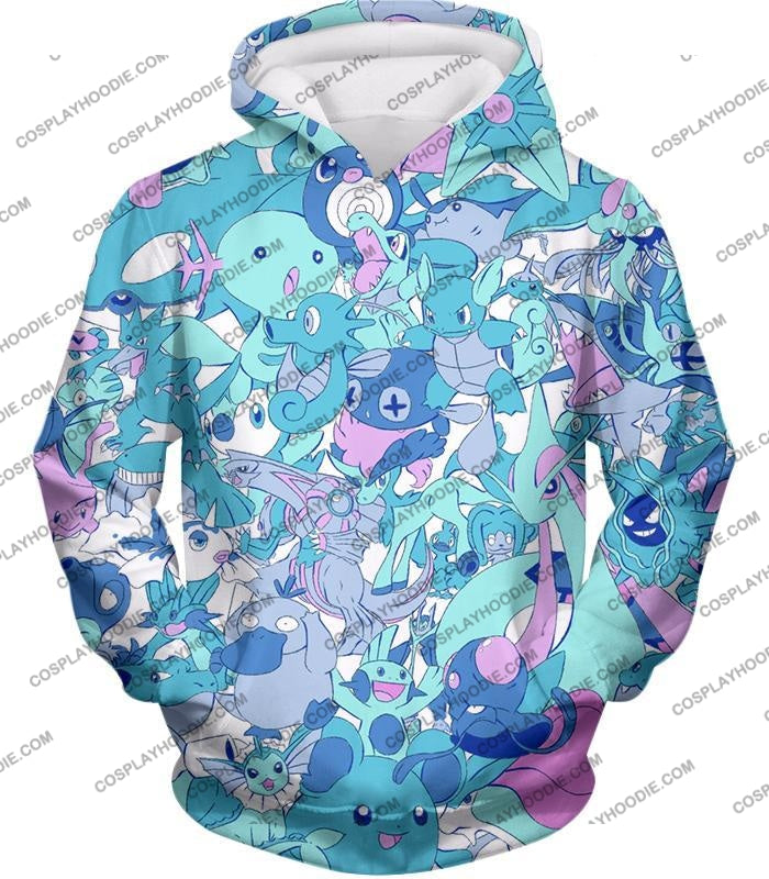 Pokemon Cool All In One Water Pokemons Promo Anime T-Shirt Pkm021 Hoodie / Us Xxs (Asian Xs)