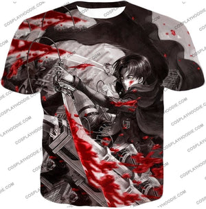 Attack On Titan Captain Levi Black And White Themed T-Shirt Aot021 / Us Xxs (Asian Xs)