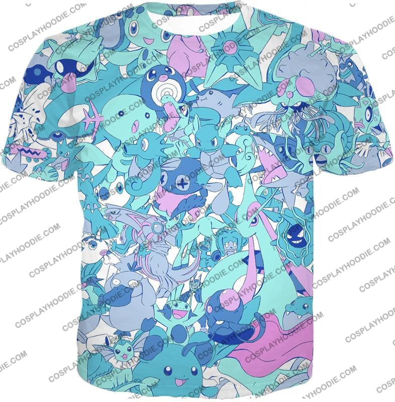 Pokemon Cool All In One Water Pokemons Promo Anime T-Shirt Pkm021 / Us Xxs (Asian Xs)