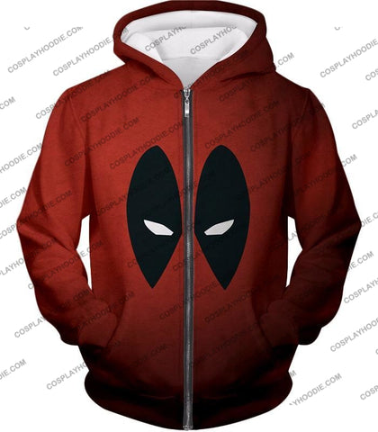 Image of Super Cool Deadpool Eyes Promo Awesome Red T-Shirt Dp021 Zip Up Hoodie / Us Xxs (Asian Xs)