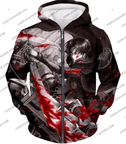 Attack On Titan Captain Levi Black And White Themed T-Shirt Aot021 Zip Up Hoodie / Us Xxs (Asian Xs)