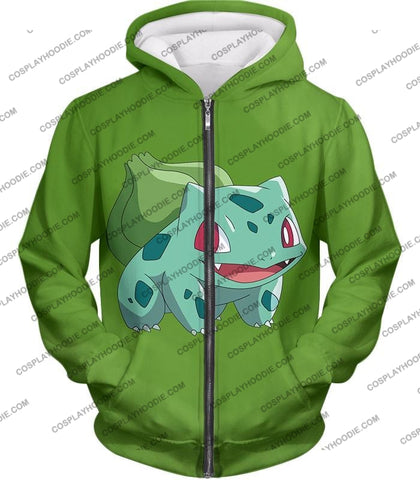 Image of Pokemon Cutest Grass Bulbasaur Green Anime T-Shirt Pkm171 Zip Up Hoodie / Us Xxs (Asian Xs)