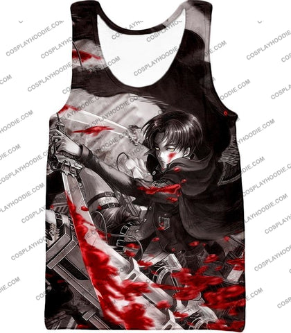 Attack On Titan Captain Levi Black And White Themed T-Shirt Aot021 Tank Top / Us Xxs (Asian Xs)