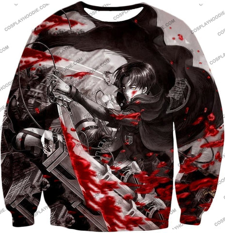 Attack On Titan Captain Levi Black And White Themed T-Shirt Aot021 Sweatshirt / Us Xxs (Asian Xs)