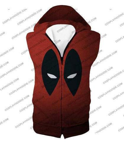Image of Super Cool Deadpool Eyes Promo Awesome Red T-Shirt Dp021 Hooded Tank Top / Us Xxs (Asian Xs)
