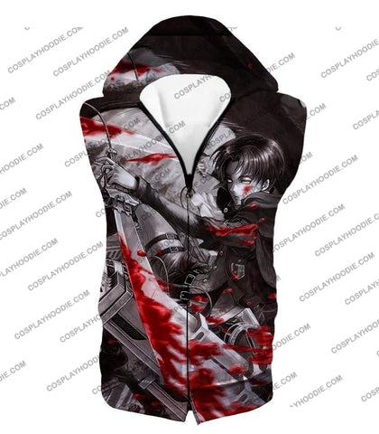 Attack On Titan Captain Levi Black And White Themed T-Shirt Aot021 Hooded Tank Top / Us Xxs (Asian