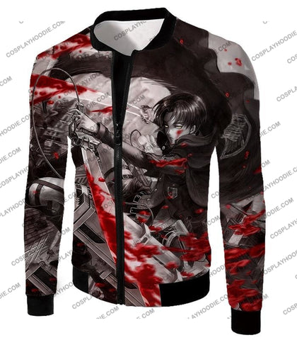 Attack On Titan Captain Levi Black And White Themed T-Shirt Aot021 Jacket / Us Xxs (Asian Xs)