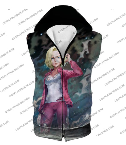Image of Dragon Ball Super Very Cute Fighter Android 18 Extremely Pretty Anime Graphic T-Shirt Dbs213 Hooded