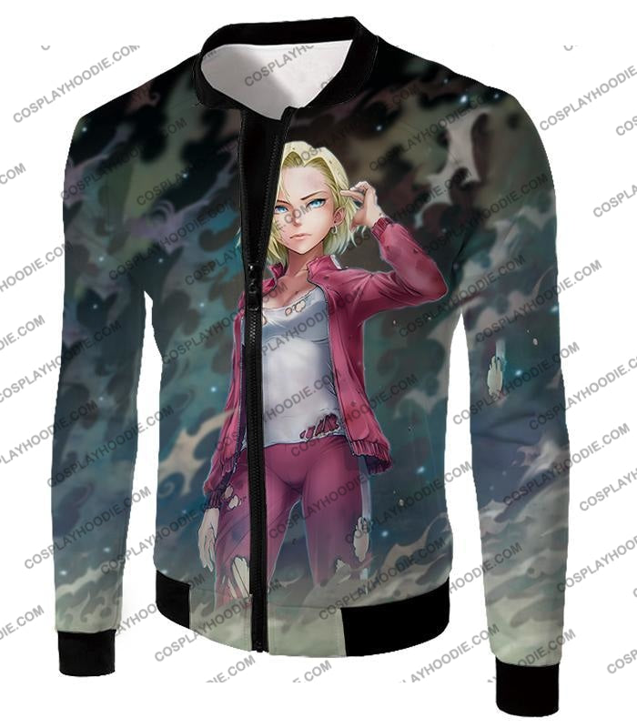 Dragon Ball Super Very Cute Fighter Android 18 Extremely Pretty Anime Graphic T-Shirt Dbs213 Jacket