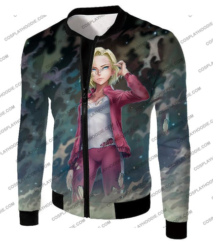 Image of Dragon Ball Super Very Cute Fighter Android 18 Extremely Pretty Anime Graphic T-Shirt Dbs213 Jacket