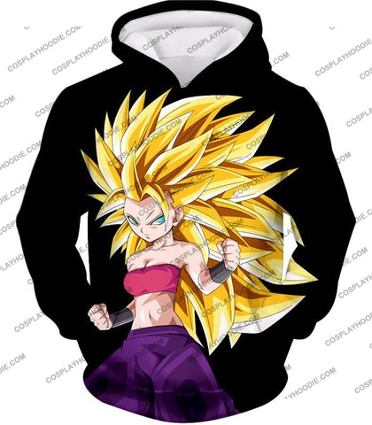 Image of Dragon Ball Super Cool Female Saiyan Caulifla 3 Awesome Promo Black T-Shirt Dbs217 Hoodie / Us Xxs