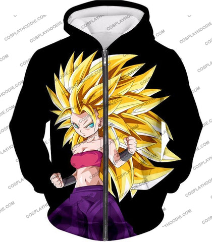 Image of Dragon Ball Super Cool Female Saiyan Caulifla 3 Awesome Promo Black T-Shirt Dbs217 Zip Up Hoodie /