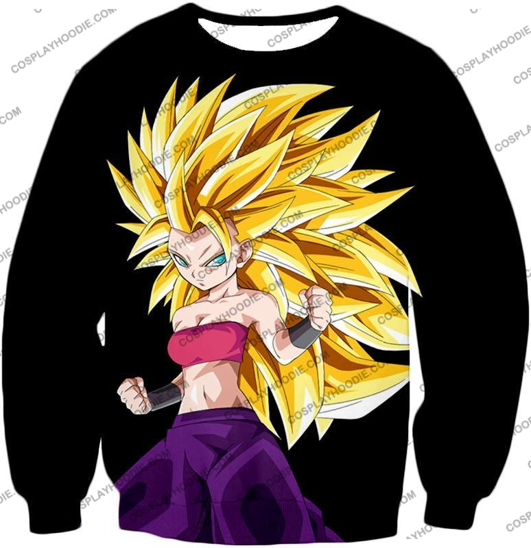 Dragon Ball Super Cool Female Saiyan Caulifla 3 Awesome Promo Black T-Shirt Dbs217 Sweatshirt / Us