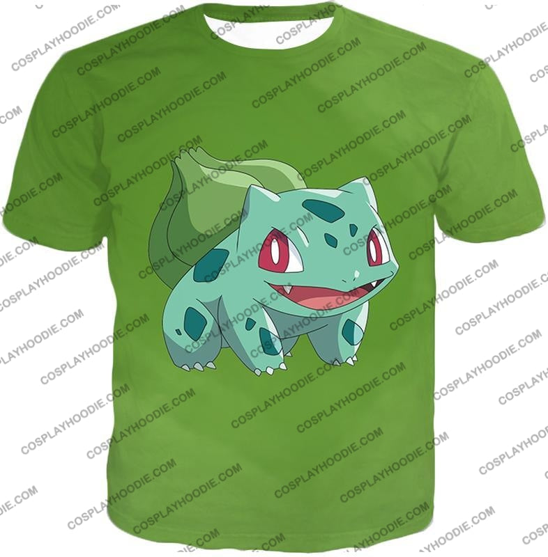 Pokemon Cutest Grass Bulbasaur Green Anime T-Shirt Pkm171 / Us Xxs (Asian Xs)