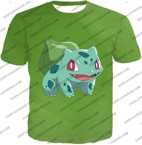 Image of Pokemon Cutest Grass Bulbasaur Green Anime T-Shirt Pkm171 / Us Xxs (Asian Xs)