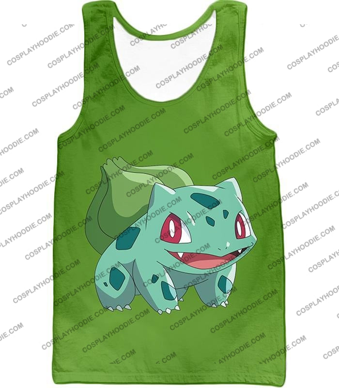 Pokemon Cutest Grass Bulbasaur Green Anime T-Shirt Pkm171 Tank Top / Us Xxs (Asian Xs)