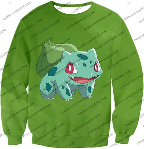 Image of Pokemon Cutest Grass Bulbasaur Green Anime T-Shirt Pkm171 Sweatshirt / Us Xxs (Asian Xs)