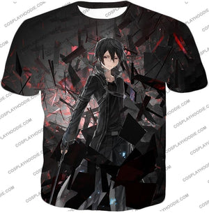 Sword Art Online Extremely Awesome Vrmmorpg Sao Player Kirito The Black Swordsman T-Shirt Sao022 /