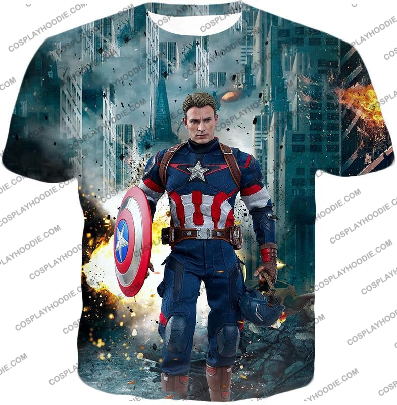 The Avengers First Avenger Captain America Action T-Shirt Ta022 / Us Xxs (Asian Xs)