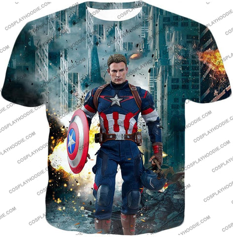 Image of The Avengers First Avenger Captain America Action T-Shirt Ta022 / Us Xxs (Asian Xs)