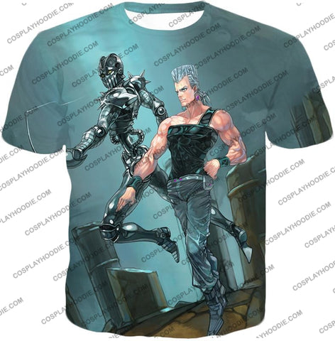 Image of Jojos Adventure C Jean Pierre Stand Silver Chariot Graphic T-Shirt Jo022 / Us Xxs (Asian Xs)