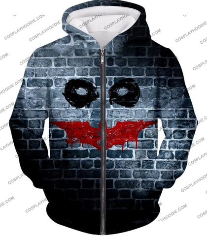 Image of Amazing Batman X Joker Logo Promo Fan Art T-Shirt Bm022 Zip Up Hoodie / Us Xxs (Asian Xs)