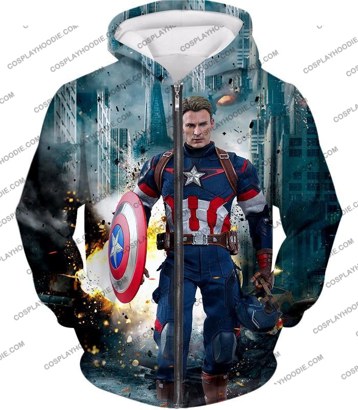 The Avengers First Avenger Captain America Action T-Shirt Ta022 Zip Up Hoodie / Us Xxs (Asian Xs)