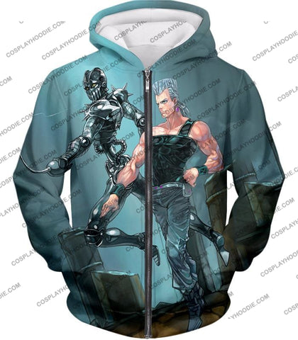 Image of Jojos Adventure C Jean Pierre Stand Silver Chariot Graphic T-Shirt Jo022 Zip Up Hoodie / Us Xxs