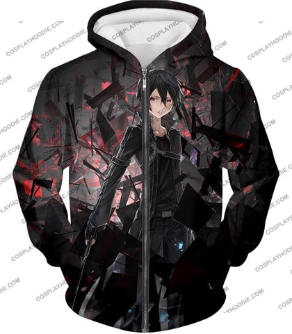 Image of Sword Art Online Extremely Awesome Vrmmorpg Sao Player Kirito The Black Swordsman T-Shirt Sao022 Zip