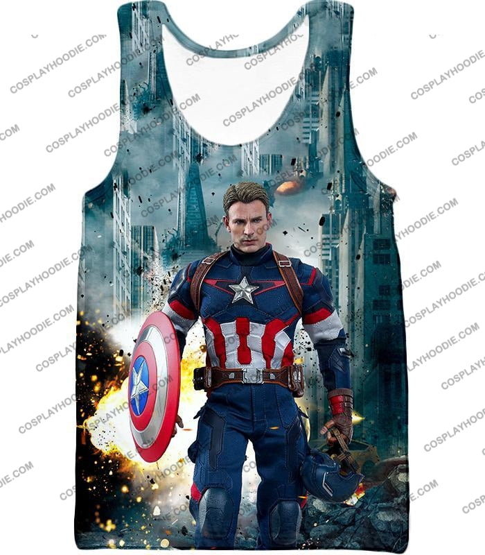 The Avengers First Avenger Captain America Action T-Shirt Ta022 Tank Top / Us Xxs (Asian Xs)