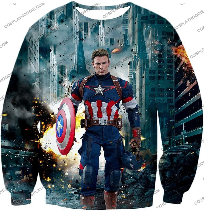 The Avengers First Avenger Captain America Action T-Shirt Ta022 Sweatshirt / Us Xxs (Asian Xs)