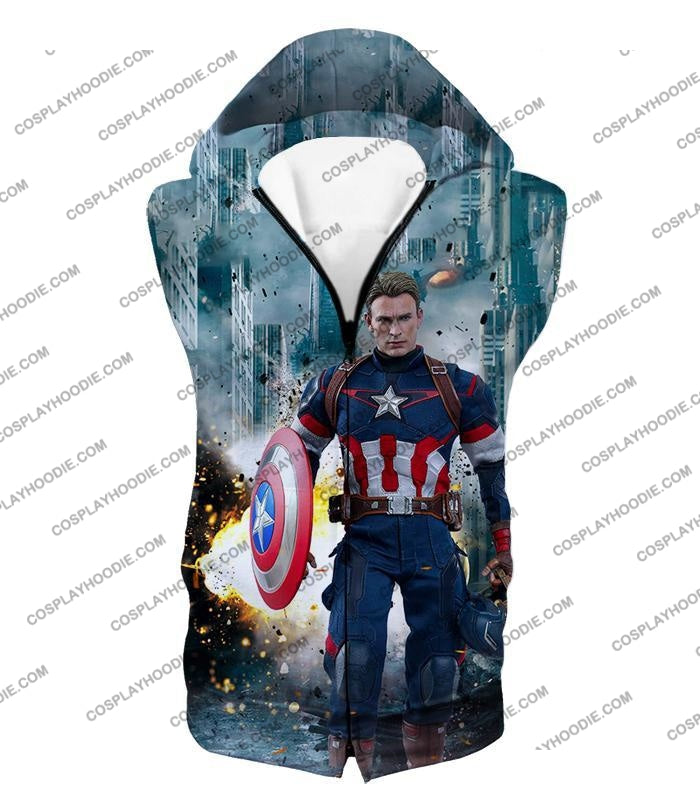 The Avengers First Avenger Captain America Action T-Shirt Ta022 Hooded Tank Top / Us Xxs (Asian Xs)