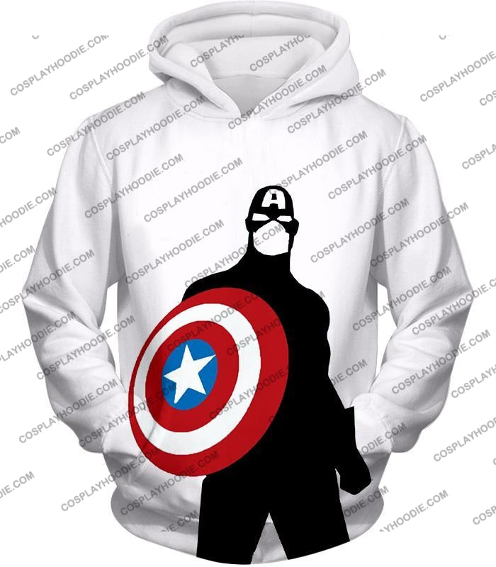 Cool Marvel Hero Captain America Silhouette Promo White T-Shirt Ca023 Hoodie / Us Xxs (Asian Xs)