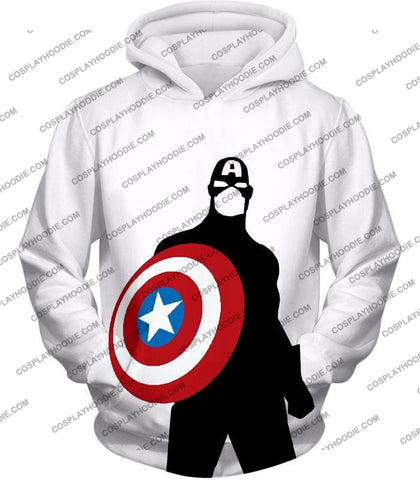 Image of Cool Marvel Hero Captain America Silhouette Promo White T-Shirt Ca023 Hoodie / Us Xxs (Asian Xs)