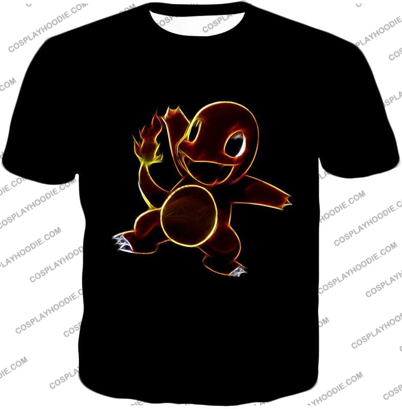 Pokemon Flame Type Charmander Cool Artwork Black T-Shirt Pkm173 / Us Xxs (Asian Xs)