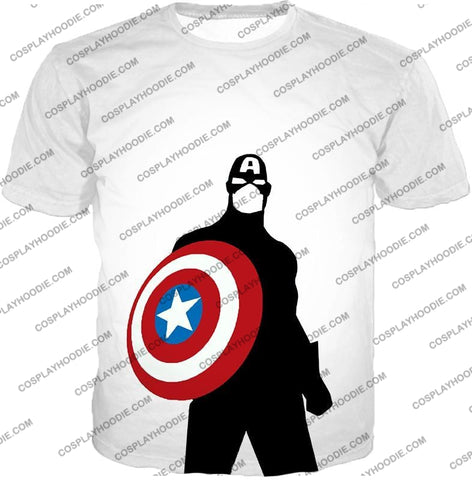 Image of Cool Marvel Hero Captain America Silhouette Promo White T-Shirt Ca023 / Us Xxs (Asian Xs)