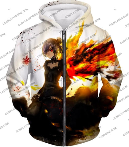 Image of Tokyo Ghoul Beautiful Short Haired Anime Girl Touka Amazing Graphic T-Shirt Tg073 Zip Up Hoodie / Us