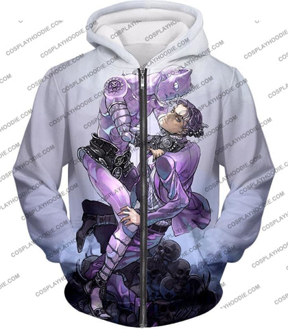 Image of Jojos Adventure C Killer Queen Graphic White T-Shirt Jo023 Zip Up Hoodie / Us Xxs (Asian Xs)