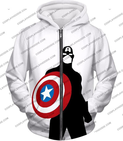 Image of Cool Marvel Hero Captain America Silhouette Promo White T-Shirt Ca023 Zip Up Hoodie / Us Xxs (Asian
