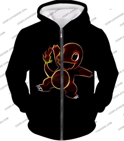 Image of Pokemon Flame Type Charmander Cool Artwork Black T-Shirt Pkm173 Zip Up Hoodie / Us Xxs (Asian Xs)