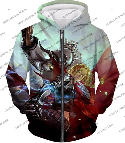 Image of Fullmetal Alchemist Ultimate Anime Brothers Edward X Alphonse Cool Action T-Shirt Fa023 Zip Up