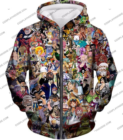 Image of One Piece Awesome Anime All In Characters T-Shirt Op023 Zip Up Hoodie / Us Xxs (Asian Xs)