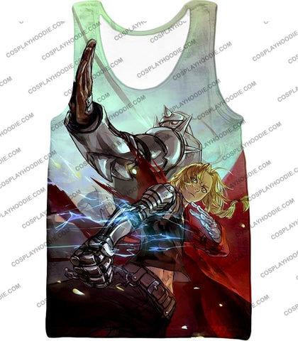 Image of Fullmetal Alchemist Ultimate Anime Brothers Edward X Alphonse Cool Action T-Shirt Fa023 Tank Top /